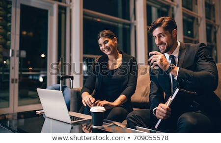 Stok fotoğraf: Iş · adamı · iş · kadını · bekleme · ofis · lobi · adam