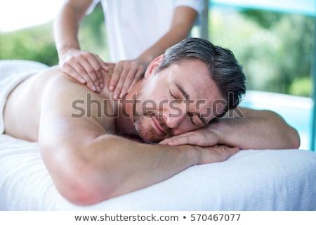 człowiek · relaks · głowie · masażu · kwiat · zdrowia - zdjęcia stock © godfer