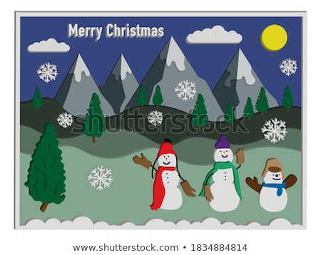 Bonhomme de neige montagne portrait carotte souriant vêtements Photo stock © photography33