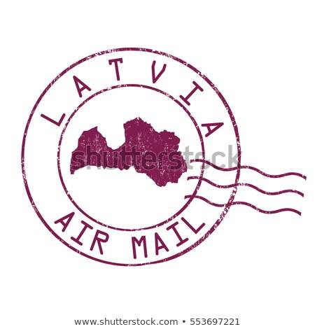 Posta Lettország kép bélyeg térkép zászló Stock fotó © perysty