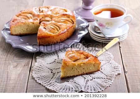 Pomme poire tarte tasse thé plaque Photo stock © Elmiko