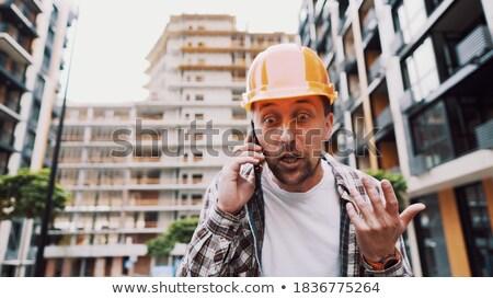 Foto stock: Gritando · telefone · homem · trabalhador · engraçado · trabalho