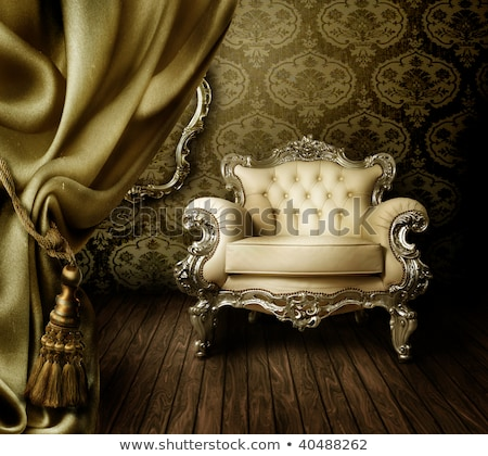 royal modern armchair with golden frame stock photo © victoria_andreas