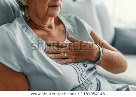 Foto stock: Senior · mulher · estresse · isolado · branco · cara
