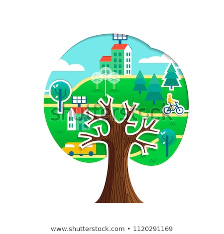 Stock photo: Earth with a tree isolated over a white background