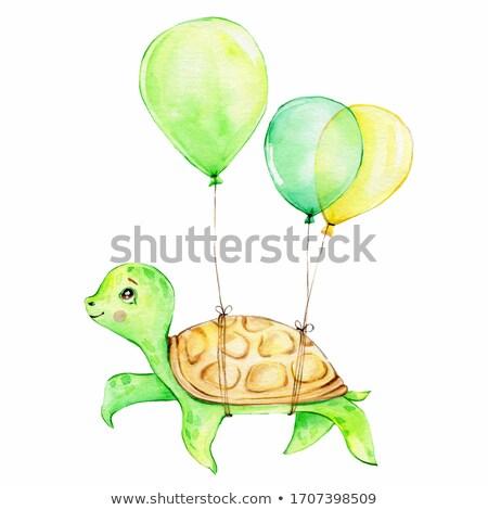 Turtle with balloon Stock photo © dagadu