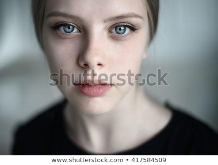 Fiatal érzéki nő gyönyörű nő szék fekete Stock fotó © prg0383