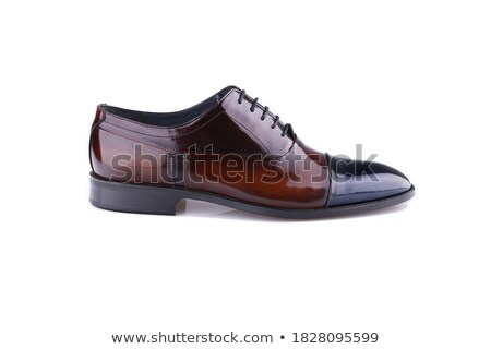 Black leather men shoe on white stock photo © JohnKasawa