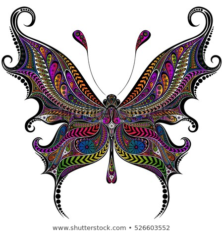 Сток-фото: Calligraphic Butterfly In Green Vector Illustration