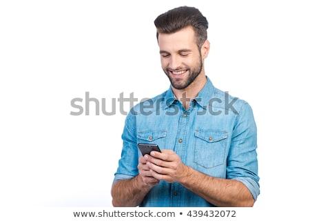 Mosolyog üzletember telefon fehér technológia telefon Stock fotó © wavebreak_media