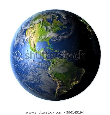 Részletes 3D Föld render izolált fehér Stock fotó © grasycho