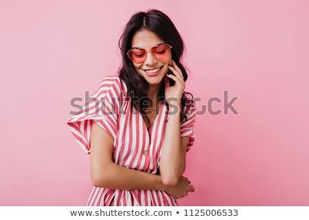 verlegen · jong · meisje · poseren · modieus · cute · weinig - stockfoto © stockyimages