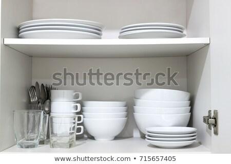 új fehér edények tálak konyhaszekrény tölgy Stock fotó © tab62