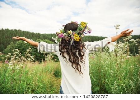 kız · çelenk · çiçekler · kafa · saç · güzel - stok fotoğraf © juniart