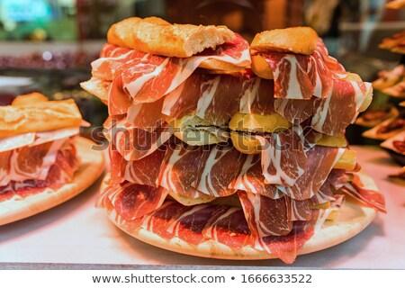 Sandviç İspanya tipik ekmek serrano jambon Stok fotoğraf © guillermo
