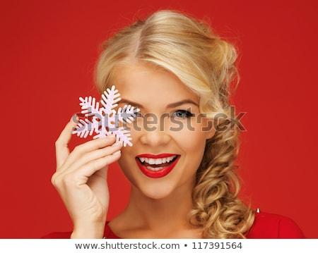 mooie · vrouw · spelen · witte · blouse · geïsoleerd · meisje - stockfoto © acidgrey
