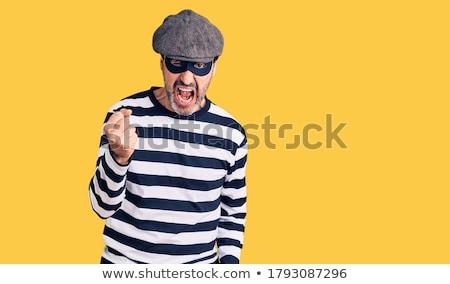Portré agresszív bandita mosoly férfi biztonság Stock fotó © luckyraccoon