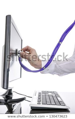Számítógép szerver sztetoszkóp internet technológia szolgáltatás Stock fotó © 4designersart