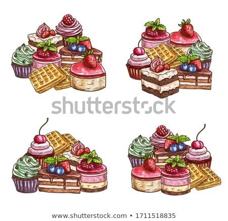 Blueberry marmalade and custard cream tart Stock photo © aladin66