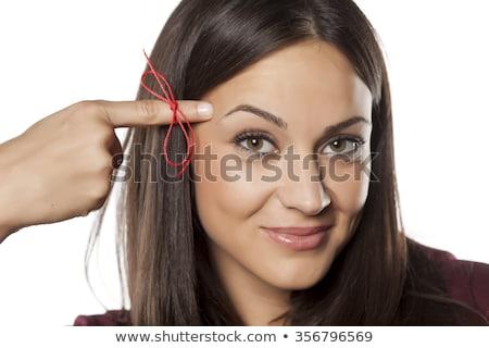 Güzel genç kadın kırmızı halat kadın Stok fotoğraf © studio1901