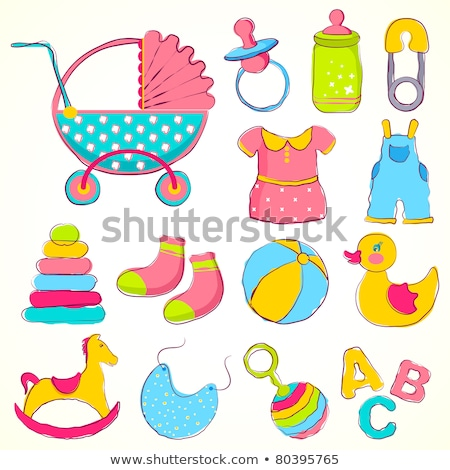 Illustration Of Different Toys Items For Baby Stockfoto © Vectomart