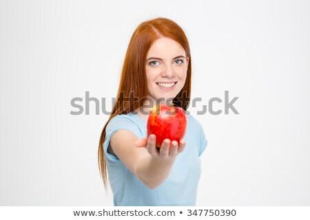 portrait · femme · souriante · panier · pommes · jardin - photo stock © anna_om