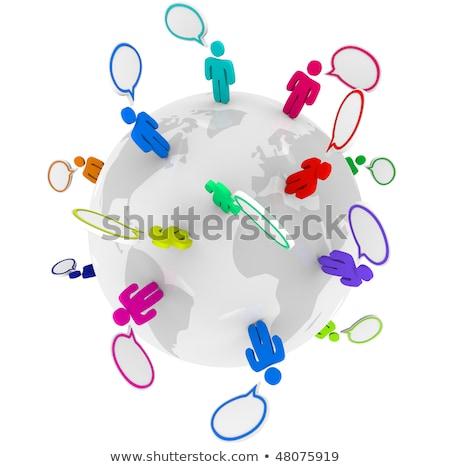 pessoas · falando · em · torno · de · globo · muitos · diverso - foto stock © alexmillos