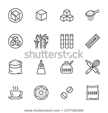 Stock fotó: Cukor · fehér · kockacukor · kicsi · tál · étel