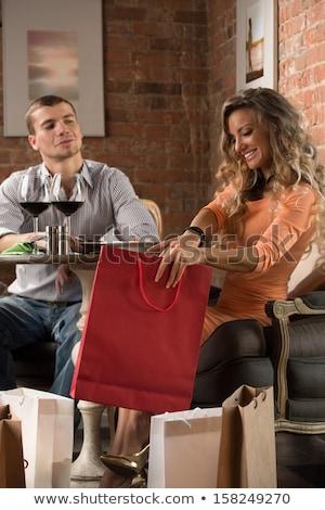 Paar dining samen restaurant winkelen Stockfoto © HASLOO
