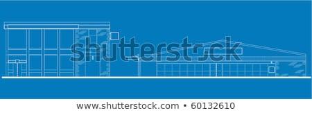 shopping center building front blue print Stock photo © patrimonio