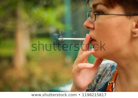 vrouw · rook · marihuana · illustratie · gras · blad - stockfoto © gromovataya