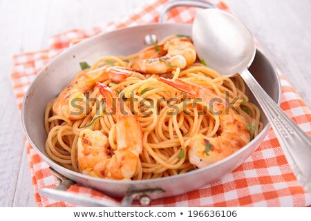 casserole with spaghetti and shrimps Stock photo © M-studio