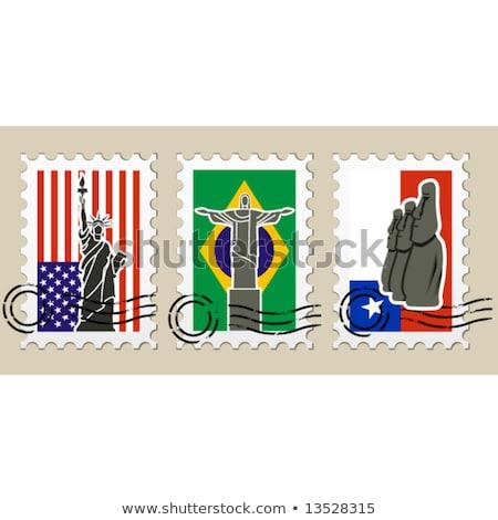 Drie bezienswaardigheden amerika postzegels stad Stockfoto © Winner