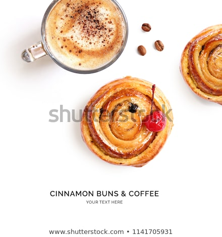 Stock photo: Buns with cinnamon and coffee on white