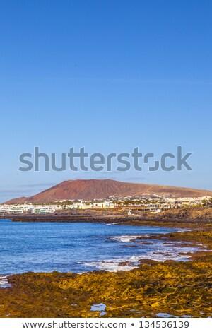 trópusi · tengerpart · hegyek · tájkép · trópusi · sziget · gyönyörű - stock fotó © meinzahn