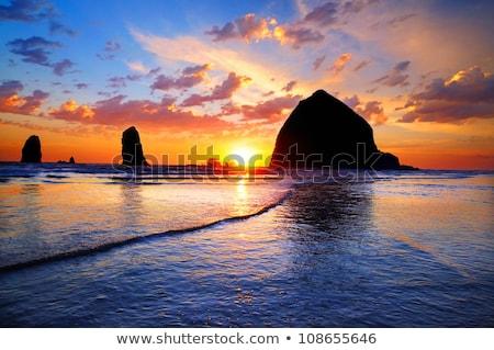 Zonsondergang strand Oregon kust zon landschap Stockfoto © Frankljr
