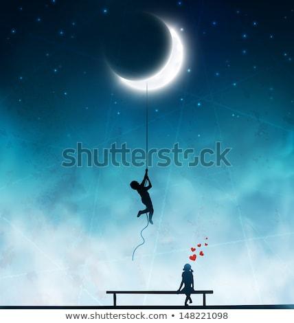 синий луна реке лунный свет воды Сток-фото © nizhava1956