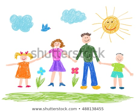 child's drawing family Stock photo © zsooofija