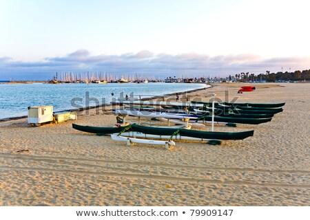 サンタクロース ボート 日の出 シルエット ストックフォト © cmcderm1