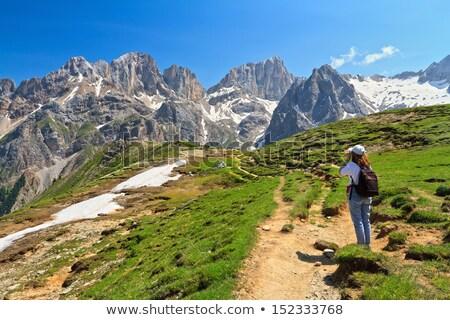 Uzun yürüyüşe çıkan kimse vadi kadın çim seyahat Avrupa Stok fotoğraf © Antonio-S