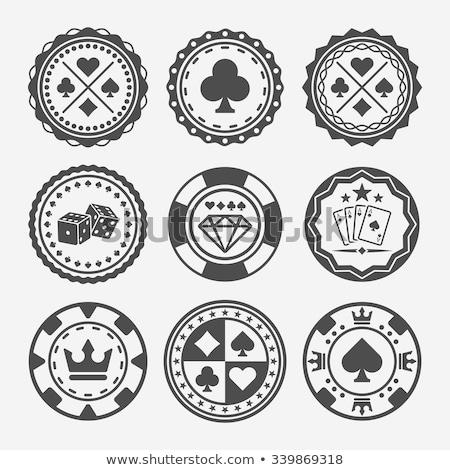 ヴィンテージ ポーカー スペード ラベル デザイン カジノ ストックフォト © carodi