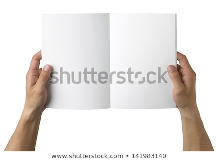 Open Book and hand on white background Stock photo © FrameAngel