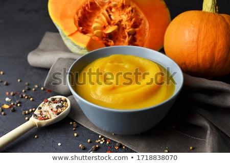 abóbora · laranja · prato · férias · colher · sopa - foto stock © yelenayemchuk