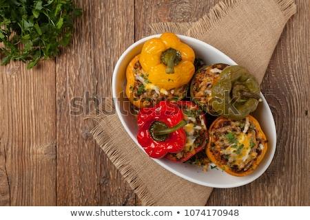 Nadziewany papryka obiedzie mięsa widelec jedzenie Zdjęcia stock © yelenayemchuk