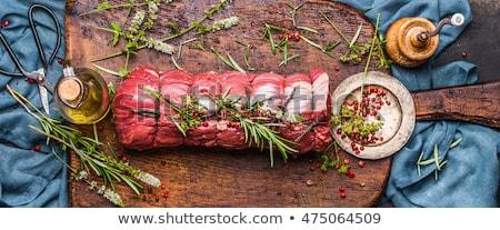 Nyers borjúhús étel háttér hús szakács Stock fotó © M-studio