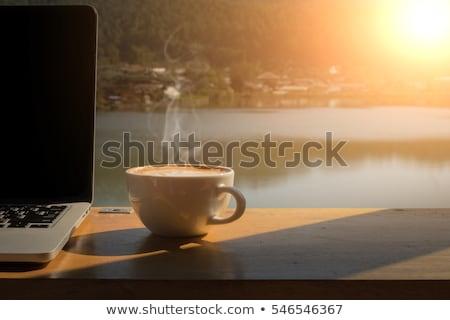 Manhã copo café expresso sol café da manhã tabela Foto stock © martince2