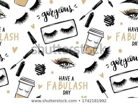 Mascara oogschaduw witte achtergrond schoonheid goud Stockfoto © kubais