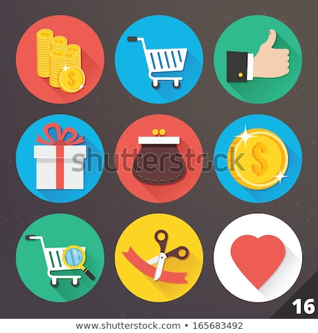 Stock photo: Present icon set on glass buttons