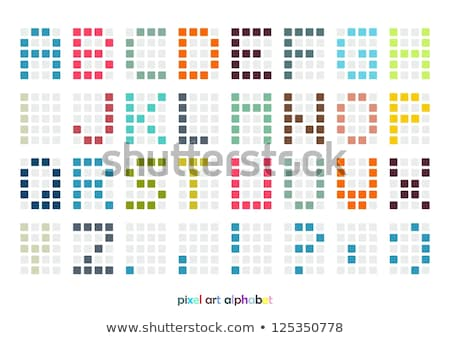 ピクセル · 芸術 · アルファベット · フォント · パステル · 色 - ストックフォト © slunicko