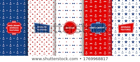 Seamless blue triangle pattern with white anchors Stock photo © Anna_leni